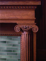Columns on mantel in family room